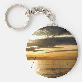 golden pacific sunset basic round button keychain