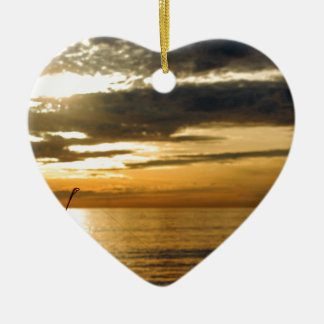 golden pacific sunset ceramic ornament