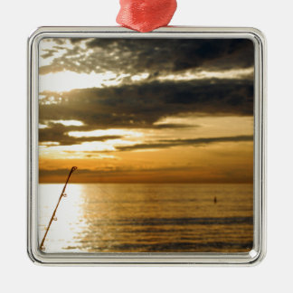 golden pacific sunset metal ornament