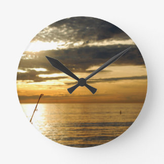 golden pacific sunset round clock