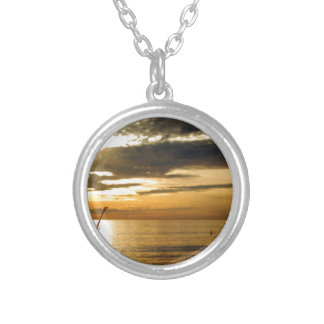 golden pacific sunset silver plated necklace