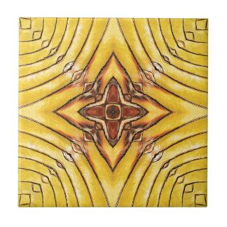 Golden Palm Frond Mandala Tile