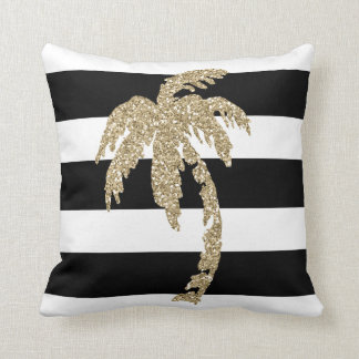 Golden Palm Tree on Black & White Stripes Pillow
