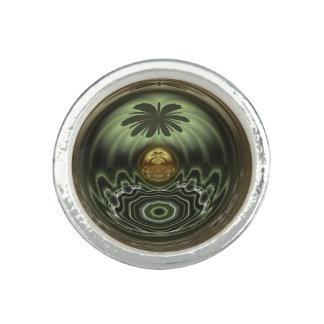 Golden Palm Tree Round Ring