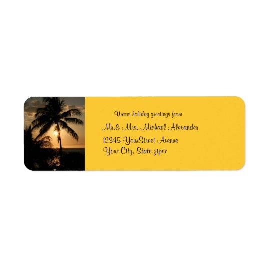 Golden Palm Tree Sunset Holiday Return Address Label