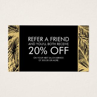 Golden Palms Spray Tanning Logo Black Referral Business Card