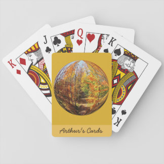 Golden Path in a Mid-Autumn Forest Globe Design Playing Cards
