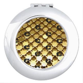Golden Pattern Monogram Makeup Mirrors