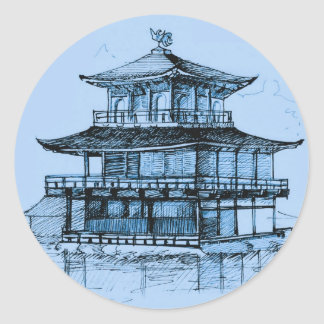 Golden Pavilion Kyoto Japan Blue Classic Round Sticker