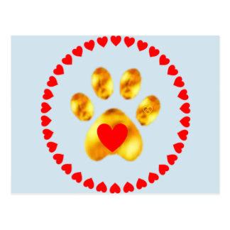 golden paw with hearts postcard