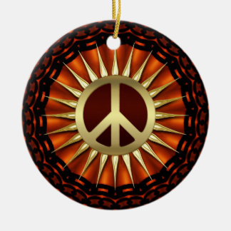 Golden Peace Sunshine Ceramic Ornament