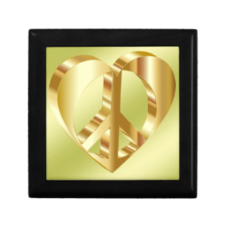 Golden peace symbol gift boxes