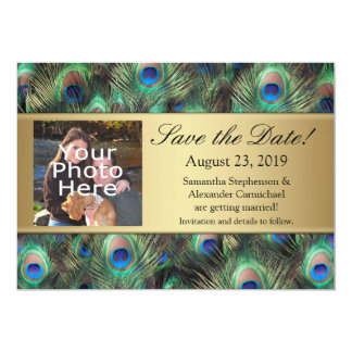 Golden Peacock Feather Photo Save the Date Card