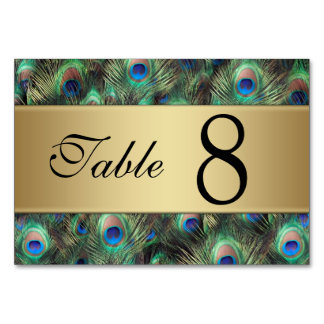 Golden Peacock Feather Wedding Table Number Table Cards