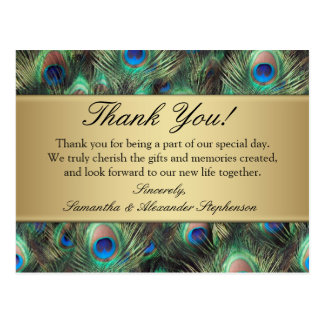 Golden Peacock Feather Wedding/Thank You Postcard