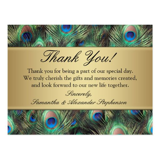 Golden Peacock Feather Wedding/Thank You Post Card