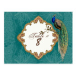 Golden Peacock & Swirls - Table Number Cards Postcard