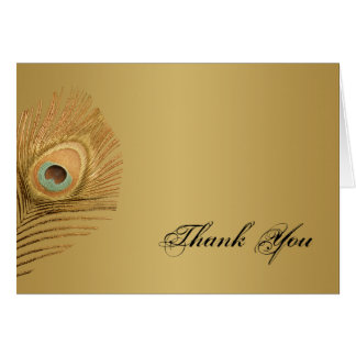 Golden Peacock Thank You Card