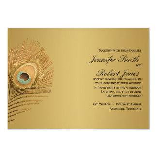 Golden Peacock Wedding Invitation