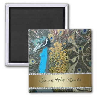 Golden Peacock with Faux Jewels Save the Date Square Magnet