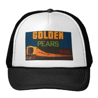 Golden Pears Vintage Fruit Crate Label Mesh Hats