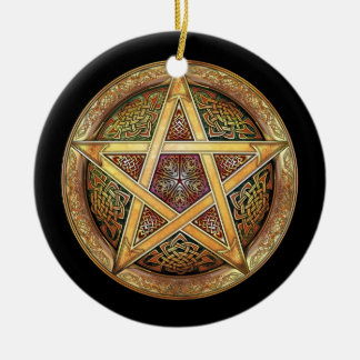 Golden Pentacle Pendant/Ornament Round Ceramic Ornament