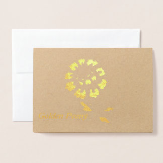 Golden Peony Flower Metallic foil Greeting cards