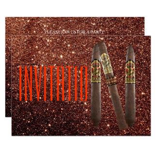 Golden Personalised Cigaro Invitation Glitter VIP