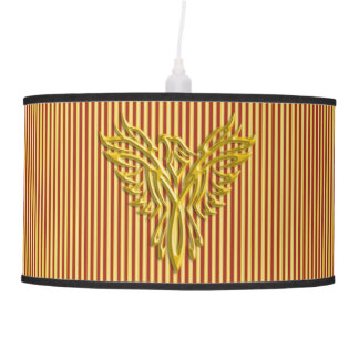 Golden phoenix on gold and scarlet royal stripes pendant lamp