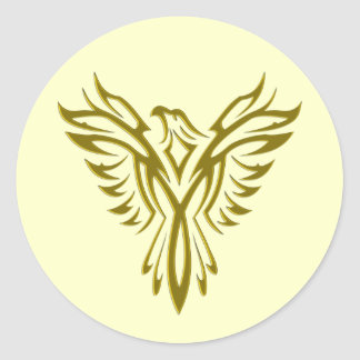 Golden Phoenix Rising envelope sealers Classic Round Sticker