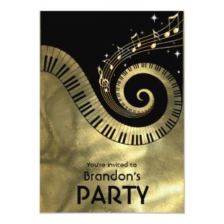 "Golden Piano Keys and Gold Music Notes Party 5"" X 7"" Invitation Card"