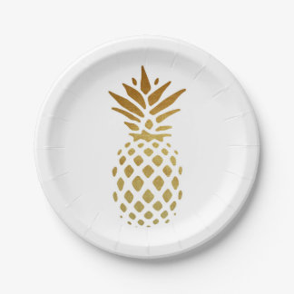 Golden Pineapple, Fruit in Gold 7 Inch Paper Plate