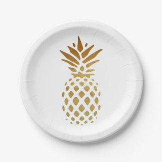 Golden Pineapple, Fruit in Gold Paper Plate