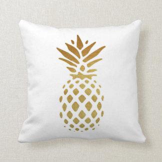 Golden Pineapple, Fruit in Gold Throw Pillow