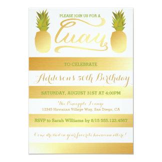Golden Pineapple Luau Invitation for Birthday