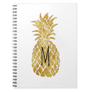 golden pineapple monogram spiral notebook