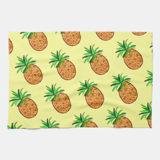 Golden Pineapple on pale yellow Kitchen Towel
