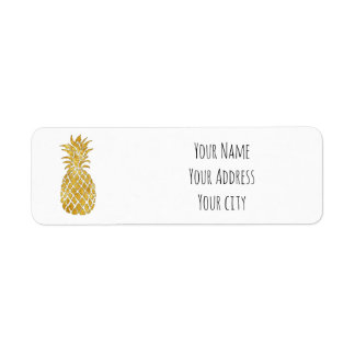 golden pineapple return address label