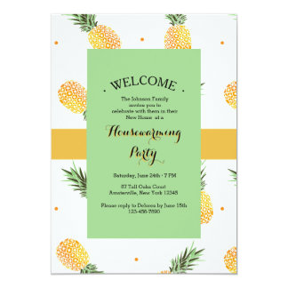 Golden Pineapples House Warming Party Invitations