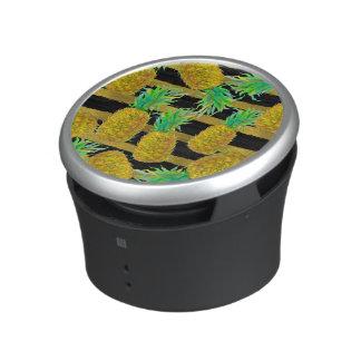 Golden Pineapples On Stripes Bluetooth Speaker