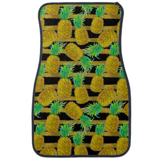Golden Pineapples On Stripes Car Liners