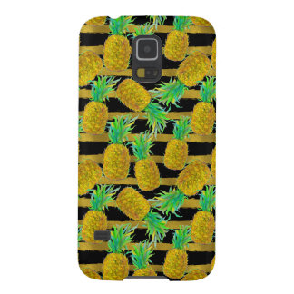 Golden Pineapples On Stripes Case For Galaxy S5