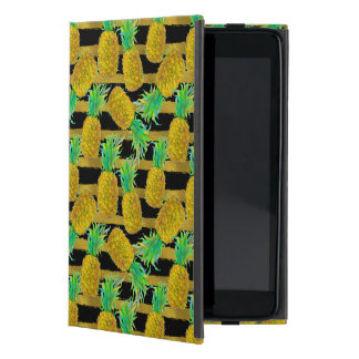 Golden Pineapples On Stripes Cover For iPad Mini