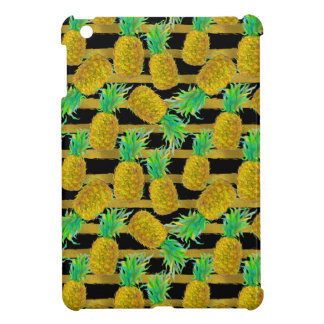 Golden Pineapples On Stripes Cover For The iPad Mini