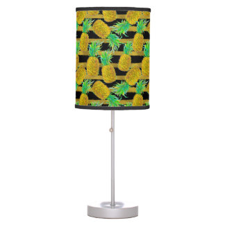 Golden Pineapples On Stripes Desk Lamps