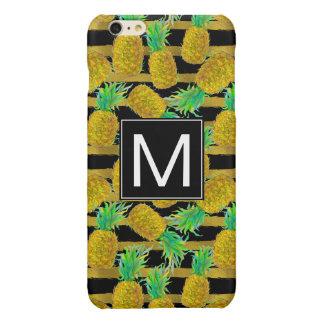 Golden Pineapples On Stripes   Monogram