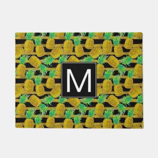 Golden Pineapples On Stripes   Monogram Doormat