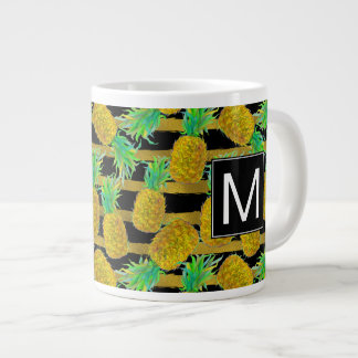 Golden Pineapples On Stripes | Monogram Giant Coffee Mug