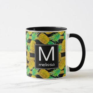 Golden Pineapples On Stripes | Monogram Mug