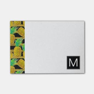Golden Pineapples On Stripes | Monogram Post-it® Notes